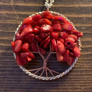 Handmade Agate & Sterling Tree of Life Pendant